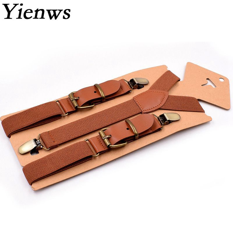 Yienws Kids Boys Suspenders Vintage Brown 3 Clip Button Brace for Pants Girls Stylish Leather Suspensorio Black Bretele YiA019 ...