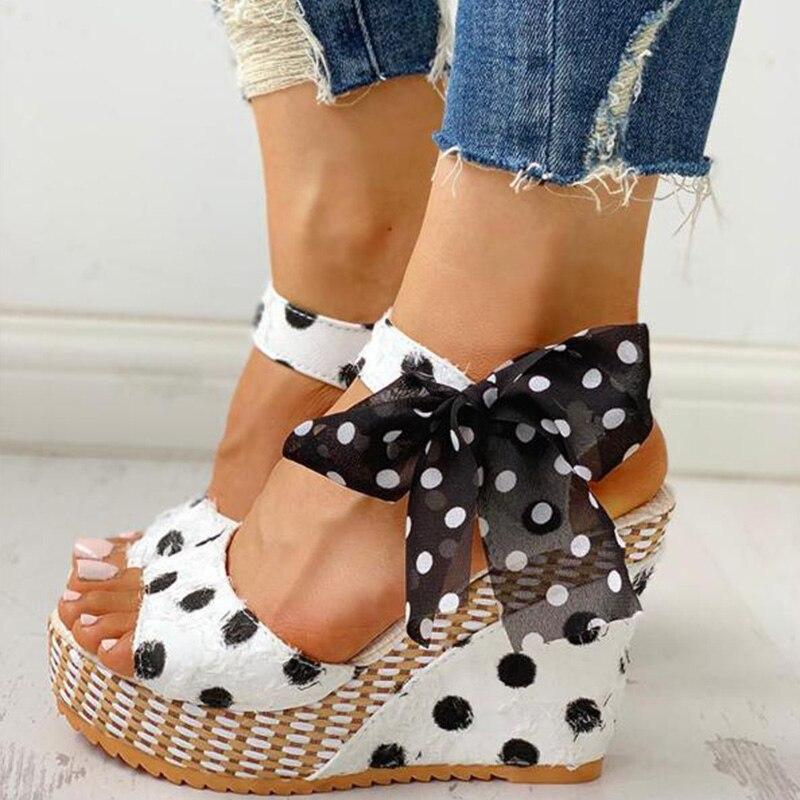HTB13CQgXQ9E3KVjSZFrq6y0UVXaO Women Sandals Dot Bowknot Design Platform Wedge Female Casual High Increas Shoes Ladies Fashion Ankle Strap Open Toe Sandals