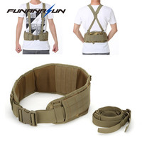 Tactical Removable Wide Waist Padded Belt With Suspender H Shaped Harness Army Combat Battle Molle Belt