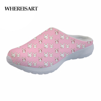 WHEREISART 2019 Rabbit Pattern Women Casual Slippers Fox Owl Ladies Summer Flat Shoes Sandals Girls Home Breathable Mesh Shoes