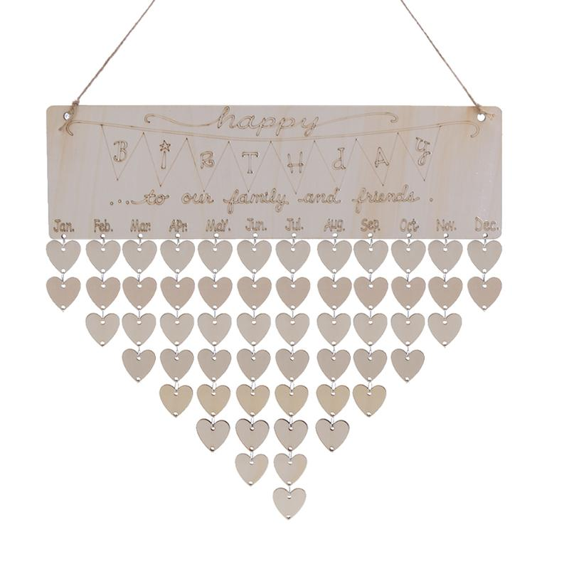 Wall Calendar Cute DIY Happy Birthday Theme Calendar Wooden Board Family Special Dates Planner Sign Hanging Decor Gift diy wall hanging wooden family birthday calendar