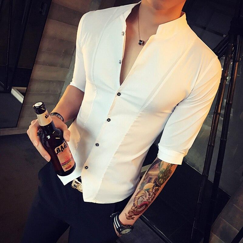 Stand Collar Chinese Style Men Shirt Slim Fit Korea Clothes Men Half Sleeve 2019 Summer Designer Club Shirt Camisa Masculina