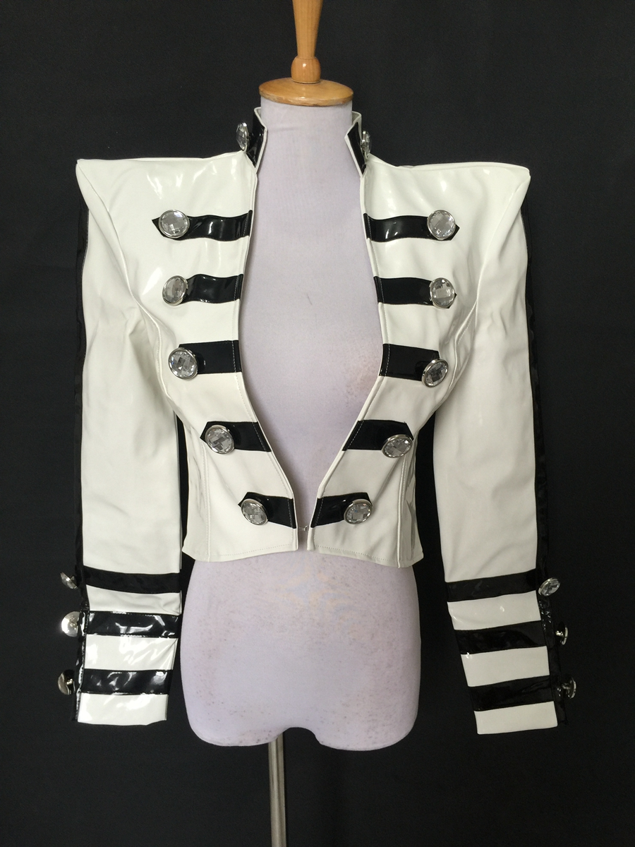 2017 New Fashion Nightclub female singer dj personality Black-and-White PU Leather Jacket costume Party show dance wear