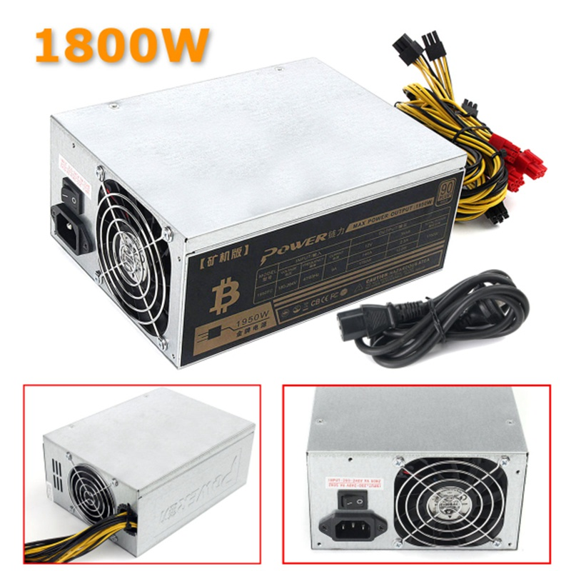 1800W Mining Machine Power Supply For Eth Bitcoin Miner Antminer S7 S9 90 Gold High Quality Computer Power Supply For BTC spot goods antminer s5 1155 gh s asic miner bitcon miner 28nm btc mining sha 256 miner power consumption 590w