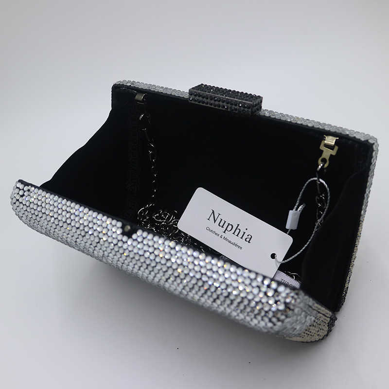 Черные клатчи NUPHIA, клатч с кристаллами и вечерняя сумочка для женщин, для вечеринки, выпускного, белого и синего цвета