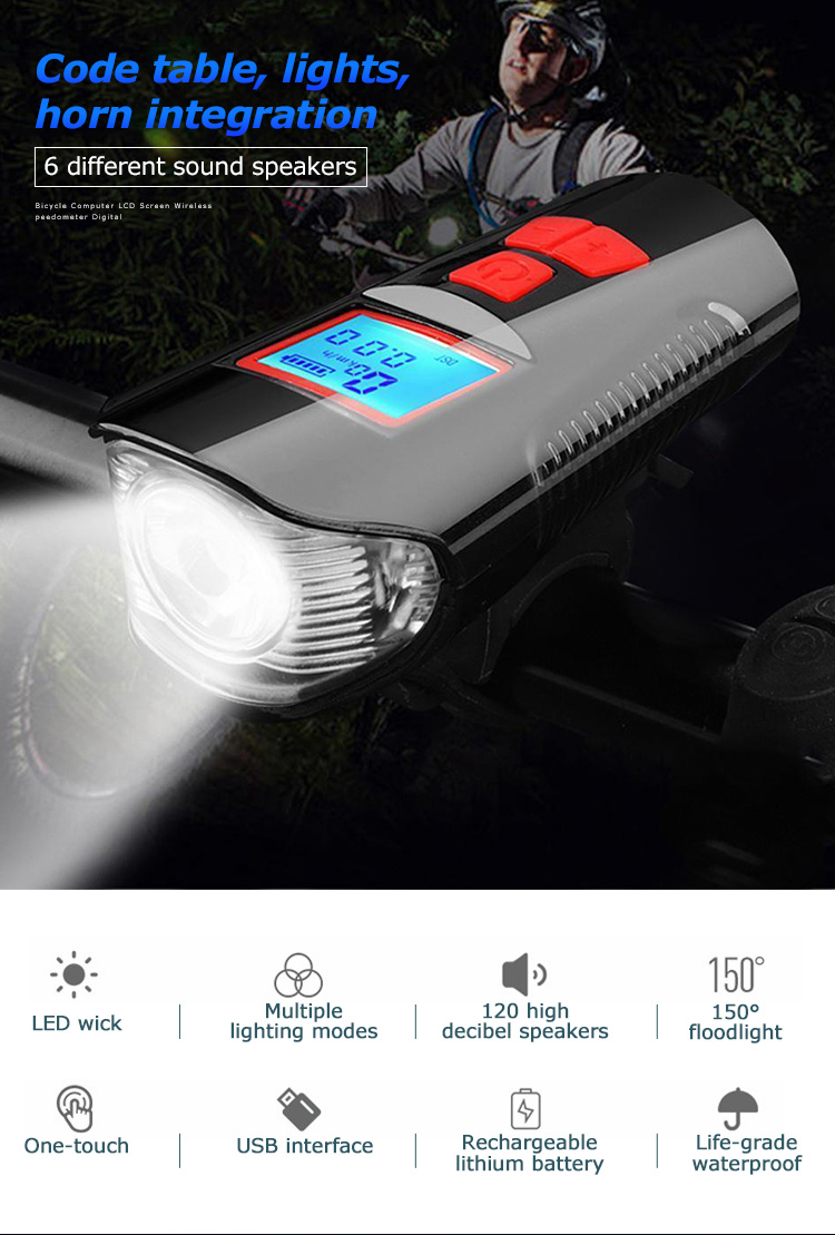 Waterproof Bicycle Front Light with USB Charging, Speed Meter and LCD Screen 13