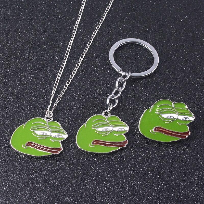 SG Internet Meme Sad Pepe Frog Keychains Pendants Kermit Sad Frog Charms Keyring Choker Brooch For Lday Men Cosplay Jewelry