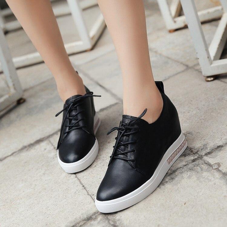 mayor De Alta Genuino Casuales Ocio Mujer Internas Cuero {zorssar} Encaje Negro blanco Zapatos 2018 Moda Tacones qC0BR