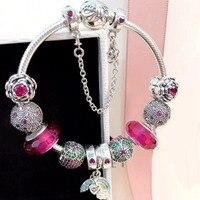 Прелестные модные туфли цветок и Радуга Подвеска Шарм красочной Европейский Стиль DIY Шарм 925 серебряный браслет