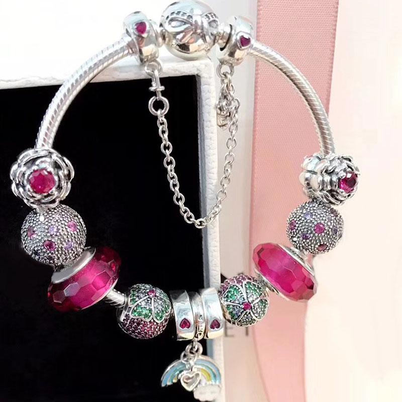 Fashion Sweet Flower And Rainbow Pendant Charm Colorful European Style DIY Charm 925 Sterling Silver Charm Bracelet