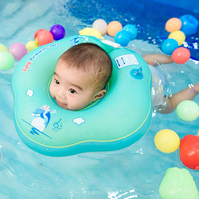 Baby Swiming Neck Ring Inflatable Pool Children Float Environmentally Friendly Soft Swimming Tube For 0-24 Month Kids Neck Ring