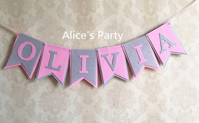 Online Shop Personalized baby shower banner custom girl name ...