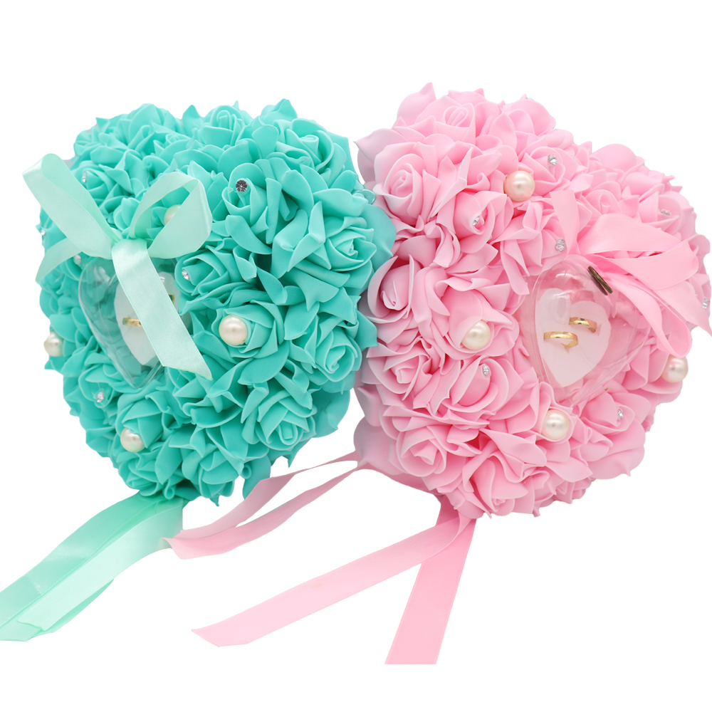 Hanging Rose flower Wedding Ring Pillow with Gift Ring Box Heart ...