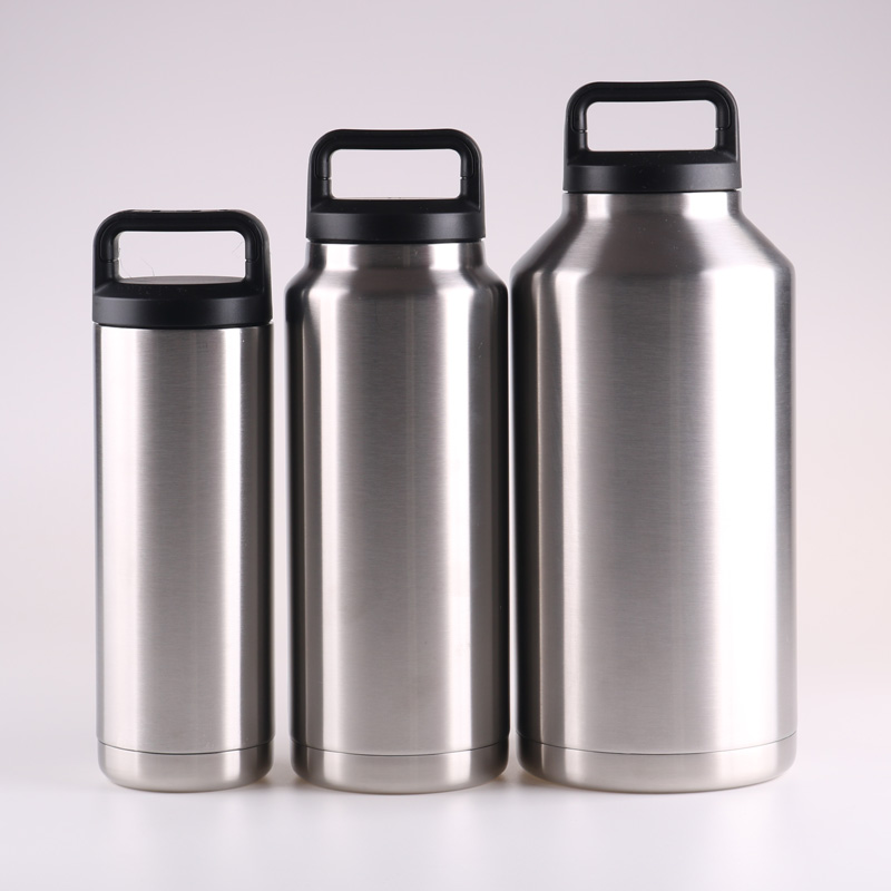 Large double Wall Stainless Steel Wide Mouth Vacuum Insulated Bottle 18oz/36oz/64oz, Silver
