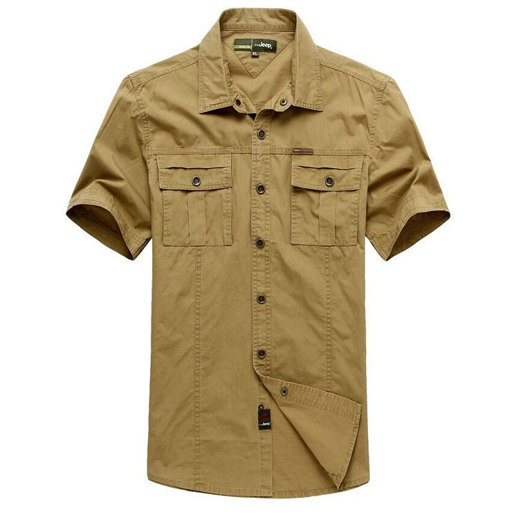 Plus Size XXXXXL Summer Men\'s 100% Cotton Shirts Solid Color Dress Short Sleeve Shirts Casual Outdoor Man Brand AFS JEEP 5003 (5)