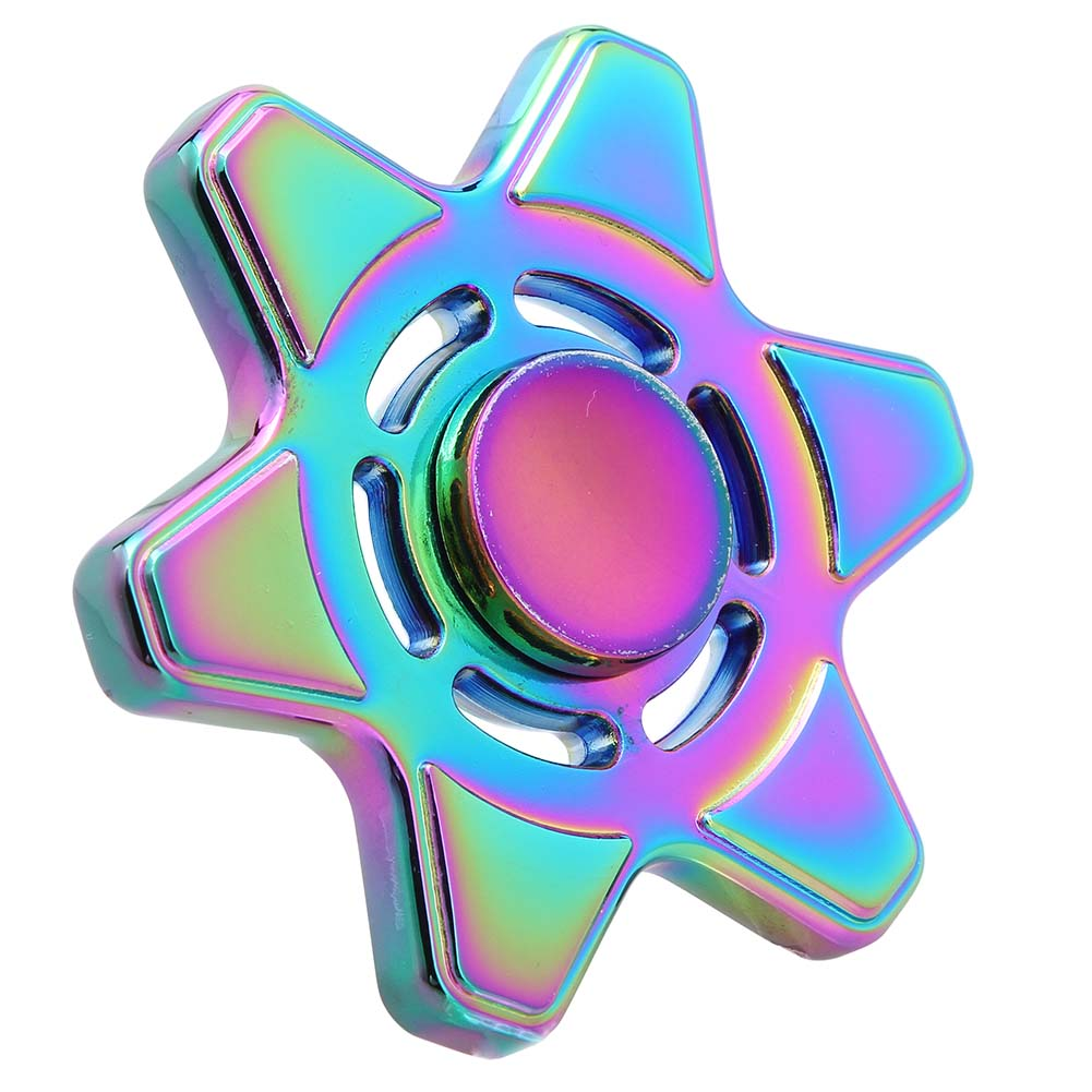Colorful Six Star Hexagram Spinner Fidget Toy Metal Spinner Hand For Autism And ADHD Children Adults