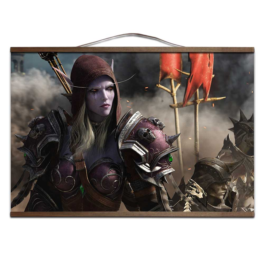 World of Warcrafts Battle for Azeroth poster Sylvanas  Anduin Jaina poster with solid wood hanging scroll  decoration painting 1