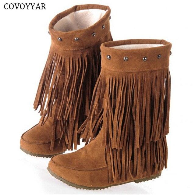 COVOYYARรองเท้าขอบ2ชั้นพู่ภายใต้เข่าสูงต่ำแพลตฟอร์มบู๊ทส์ผู้หญิงกลางลูกวัวแตะผู้หญิงรองเท้าWBS8