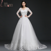 Romantic V Neck Long Sleeves Ball Gown Wedding Dresses 2017 Sexy Backless Bridal Gowns Lace Appliques
