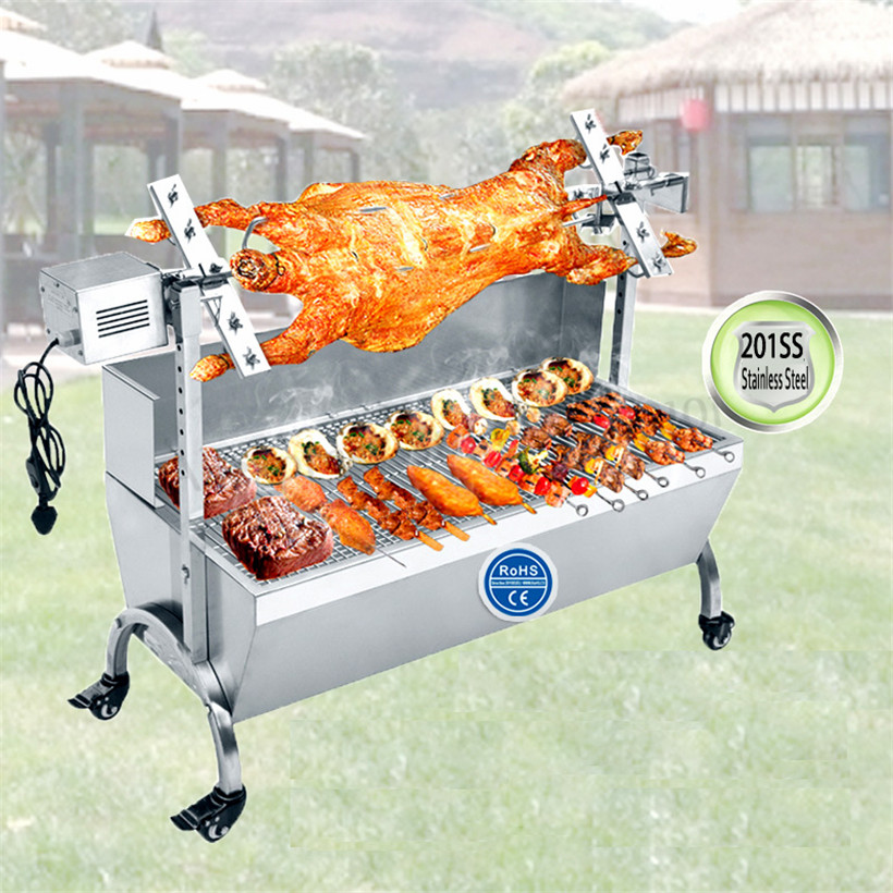 BBQ Roasted Whole Lamb Stove Pig Goat Charcoal Barbeque Grill Stainless Steel Rotisserie Spit Raclette Hog Roasting Machine