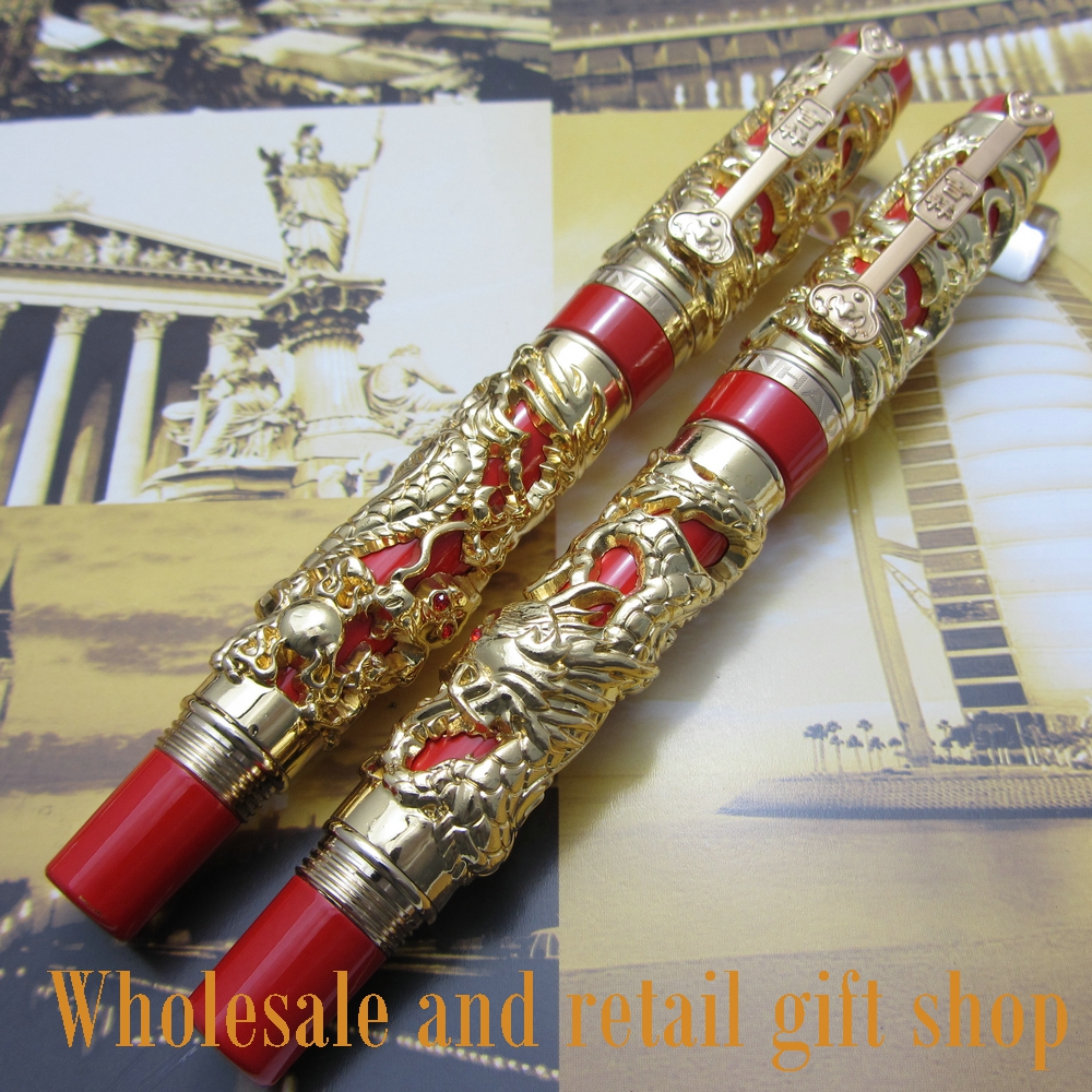2pcs pen Jinhao Long Feng heavy gold red Chinese Classical luck clip Dragon better noblest jinhao 1200 dragon clip roller ball pen complete golden