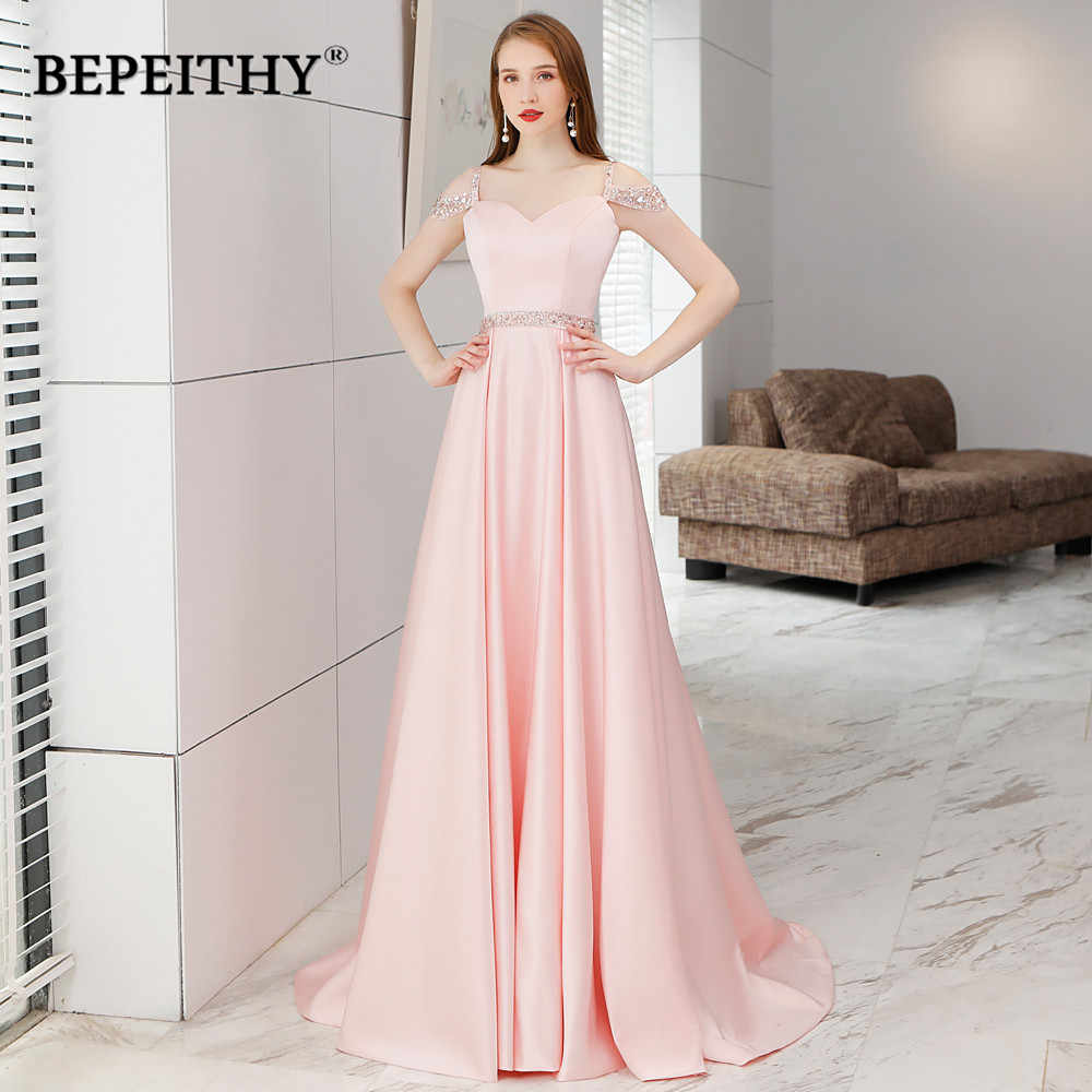 3f1b5b08b3a Simple But Elegant Long Evening Dress Crystal Blet Vestido De Festa 2019  New Arrival Vintage Prom
