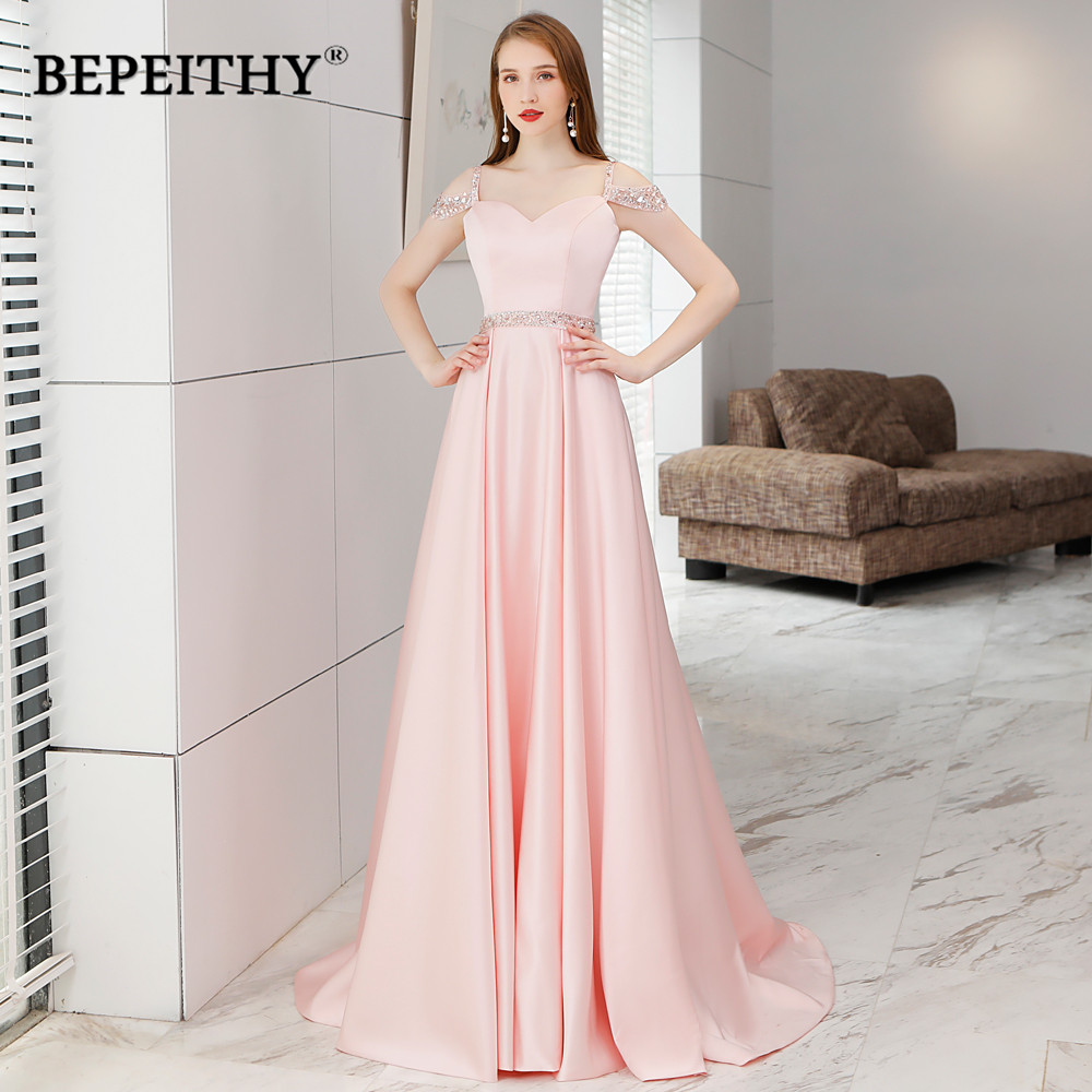 pretty cool latest discount look out for Simple But Elegant Long Evening Dress Crystal Blet Vestido De Festa 2019  New Arrival Vintage Prom Dresses Long