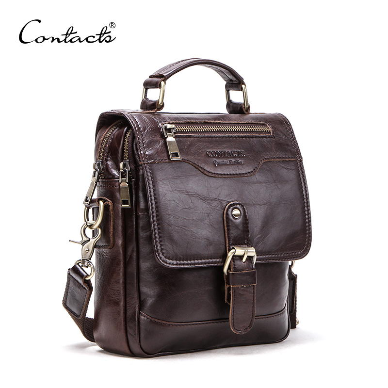 CONTACT S Genuine Leather men message bags for 7 9in iPad vintage travel handbag zipper Metal