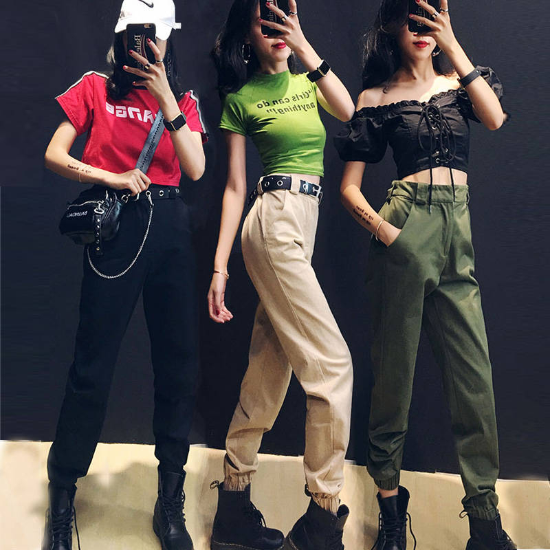 Streetwear Cargo Pants Women 2019 Casual Joggers Girl Black High Waist Loose Female Trousers Korean Style Ladies Pants Capri