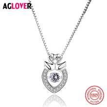 цена Free Shipping 925 Sterling Silver Fashion Austrian Crystal Floating Heart Swan Summer Pendant Charm Woman Necklaces Jewelry онлайн в 2017 году