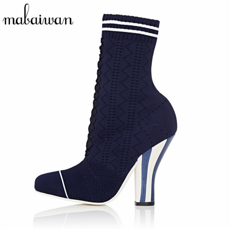 Mabaiwan Sexy Women Knitting Boots Strange High Heels Female Stretch Sock Ankle Botas Mujer Autumn Elastic Booties Women Pumps fashion kardashian ankle elastic sock boots chunky high heels stretch women autumn sexy booties pointed toe women pumps botas