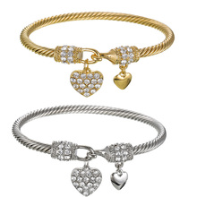 купить Fashion Bracelet Multi Twisted Cable Wire Bangle High Quality Stainless Steel Golor Silver Crystal Heart Charm Cuff Bracelet дешево