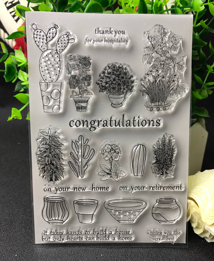 Flowers and potted plants Transparent Clear Silicone Stamp/Seal for DIY scrapbooking/photo album Decorative clear stamp lovely bear and star design clear transparent stamp rubber stamp for diy scrapbooking paper card photo album decor rm 037