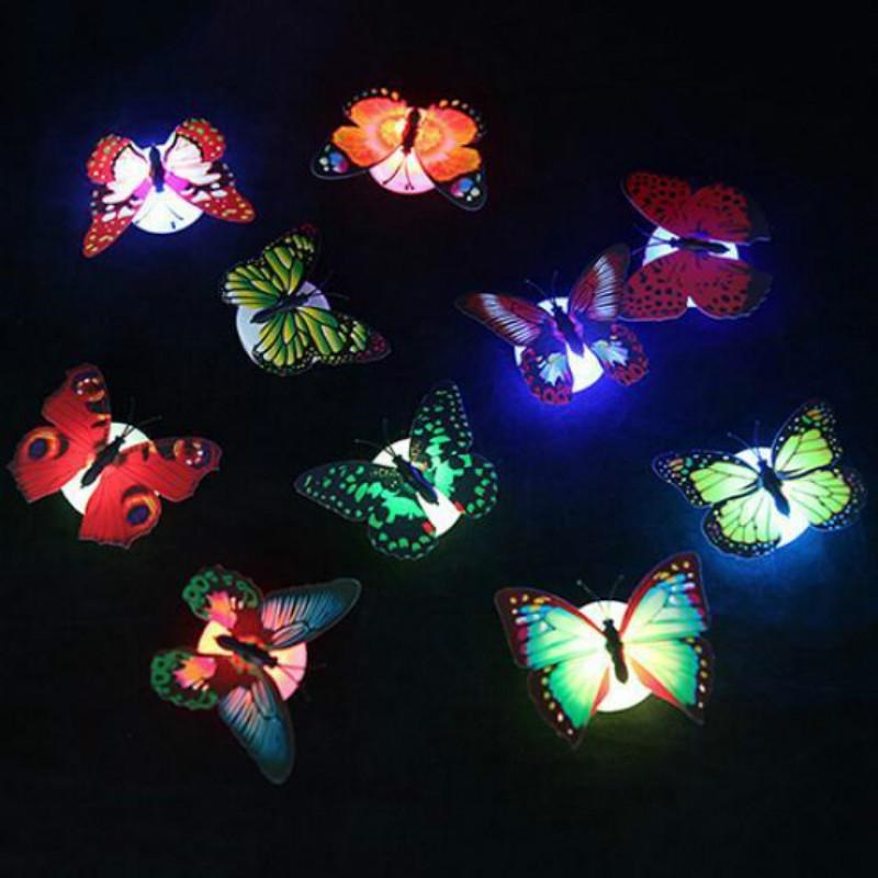 Led Night Lights Party Supplies Colorful Changing Led Butterfly Light Night Atmosphere Lamp Indoor Light With Suction Pad Home Desk Wall Decor