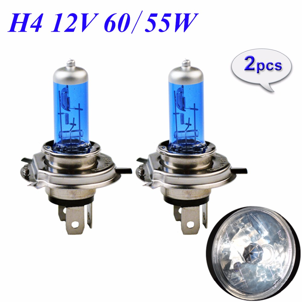 цена на Hippcron 1 Pair 12V 60/55W H4 Halogen Lamp 5000K HeadLight Bulb Xenon Dark Blue Glass Auto Headlight Super White FREE SHIPPING