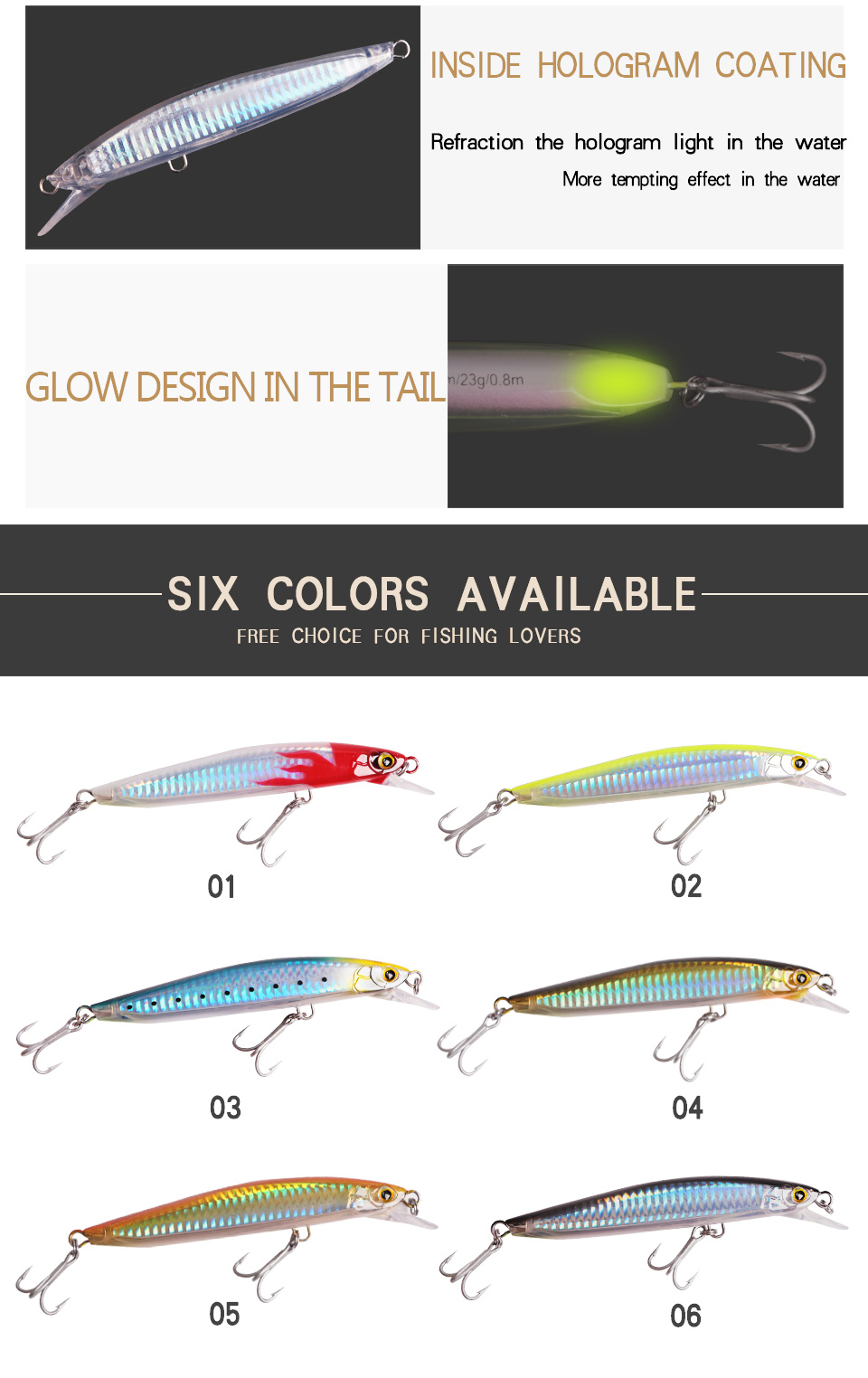 Kingdom Fishing Lures Saltwater 120mm23g,130mm30g Floating Artificial Bait Minnow Wobblers Hard Lure Model 7502 (6)
