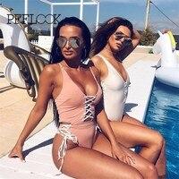 Pfflook Brazilian Vintage Swimsuit Women 2017 Sexy One Piece Swimwear Suit Summer Beach Wear Solid Bandage