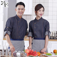 Chef Work Clothes Hotel Restaurant Cooker Denim Jacket Men And Women Short Sleeve Summer Chefs Uniform