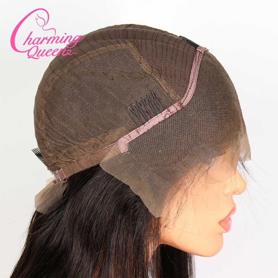 Очаровательные королевские кружевные передние человеческие волосы парики для черных женщин кудрявые прямые предварительно сорванные бразильские волосы remy парик с волосами младенца