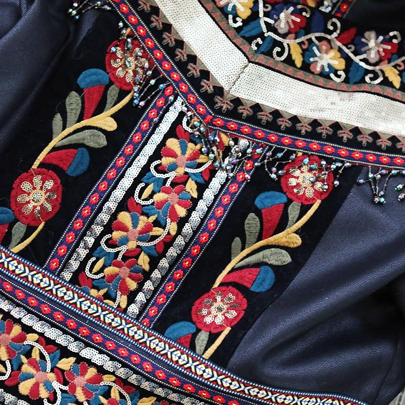 D'agneau De Pu Exotique En Femmes Broderie Noir Cuir Chaud Gland Hiver Jessica Laine Lâche Veste Patchwork Magasin Vintage Locomotive gdqwzOw
