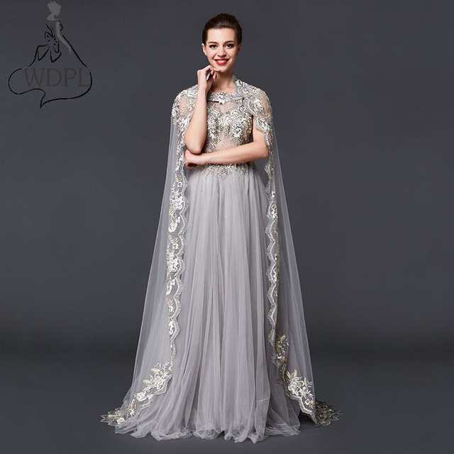 ed5d06ceda2 Gorgeous Muslim Long Evening Dress with Cape Haute Couture Arabic Dubai  Gray Tulle Prom Party Dress Embroidery Abaya Gala Gowns