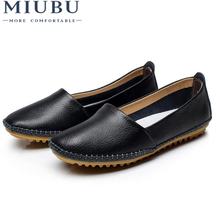 MIUBU Women Genuine Leather Shoes Flats Fashion Casual Slip On Loafer Zapatos Mujer