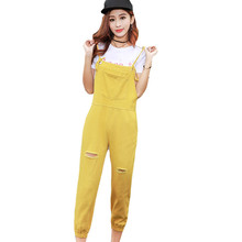 019 New Spring Women Preppy Style Casual Jeans Overalls Ripped Holes Jeans Sleeveless Denim Jumpsuits Solid Color Rompers preppy style solid color denim women s overalls