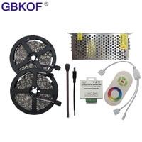 저렴한 10M 15M 20M LED 스트립 5050 RGB 5 메터/몫 60LEDs/M 비 방수 led 유연한 빛 + RF 터치 RGB 컨트롤러 + DC12V 어댑터 키트