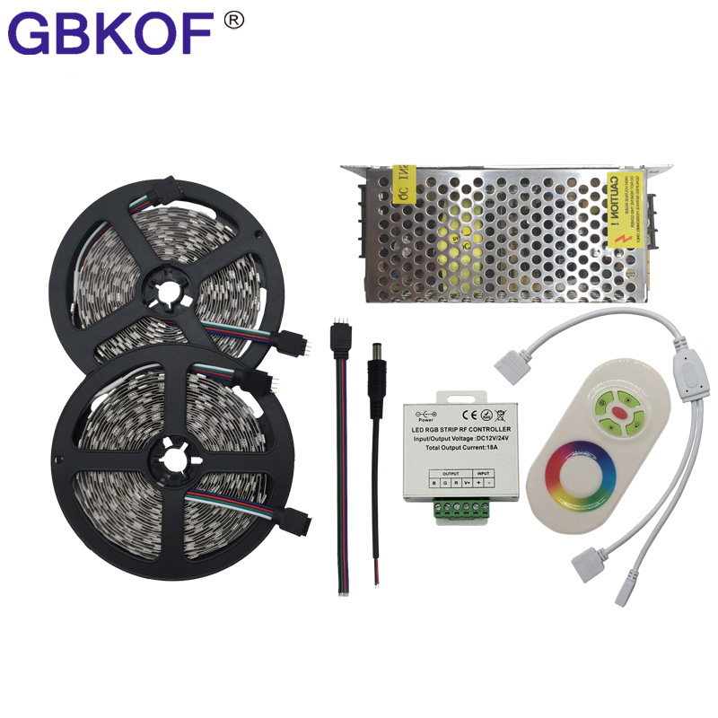Cheap 10M 15M 20M LED Strip 5050 RGB 5m/lot 60LEDs/M Non Waterproof led Flexible light+RF Touch RGB Controller+DC12V Adapter kit 10m 5m 3528 5050 rgb led strip light non waterproof led light 10m flexible rgb diode led tape set remote control power adapter