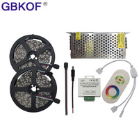 Cheap 10M 15M 20M LED Strip 5050 RGB 5m/lot 60LEDs/M Non Waterproof led Flexible light+RF Touch RGB Controller+DC12V Adapter kit