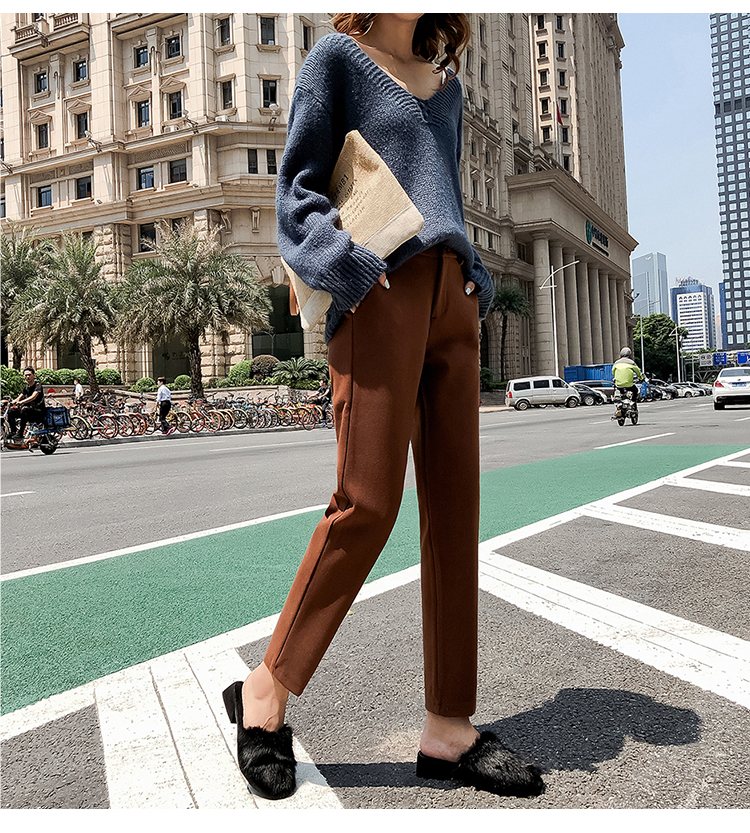 19 Autumn New Women Elastic Woolen Pant Female Plus Size Casual Trousers Black/Gray Harem Pants Winter Wool Ankle-Length Pants 25