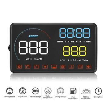 A9 Car HUD Head Up Display OBD2 II Overspeed Warning System Speed Projector Windshield Car Overspeed Electronic Voltage Alarm image