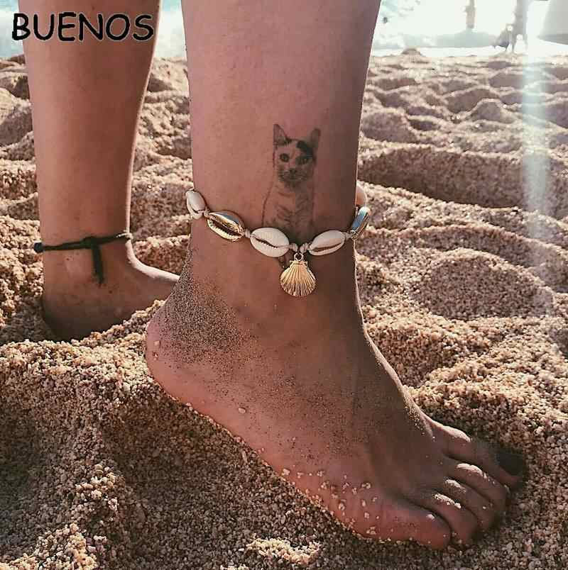 บัว Beach Gold สี Anklet ผู้หญิงเลื่อมลูกปัดสร้อยข้อมือ Charm โบฮีเมียนข้อเท้าสร้อยข้อมือเท้า Boho ฤดูร้อนชายหาดเครื่องประดับ
