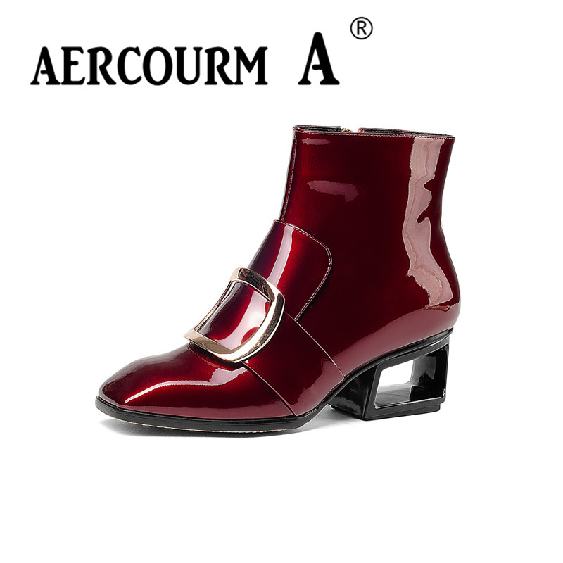 Aercourm A Women Winter Ankle Boots Genuine Leather Shoes Cowhide High Heel Shoes Luxury Brand Shoes Women Metal Zippe Boots 949 aercourm a 2018 women black fashion shoes female bright genuine leather shoes pearl high heel pumps bow brand new shoes z333